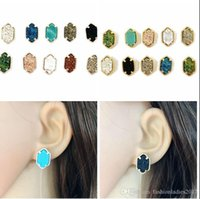 Fashion Druzy Drusy Square stud Earring 10 Colors Gold silve...