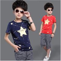 Big Boys Summer Conjuntos de ropa 2018 Nuevos niños de manga corta T-shirt Tops + Plaid Pantalones medios 2pcs Boy trajes niño algodón trajes casuales