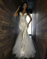 2019 New Luxury Bling Sparkle Prom Dresses Mermaid White Deep V-neck Beaded Crystal Long Tulle Prom Dress Evening Gowns 302