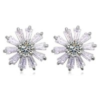 earrings Luxury High Quality Cubic Zirconia Flower Stud Earr...