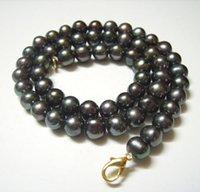 10pcs / серия черный круглый пресной воды Pearl ожерелье омара Застежка для подарка ювелирных изделий 16inch P5 Бесплатная доставка