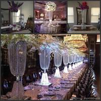 """80cm (31"""" ) Akşam Parti Masa Dekorasyon Mum 10sets Standı yüksekliği Akrilik Kristal Düğün Centrepiece Yol Kurşun / lot"""