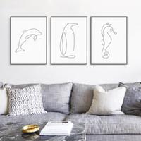 Moderne Picasso Minimalistischen Meer Tierform Leinwand A4 Kunstdruck Poster Abstrakte Dolphin Wandbild Wohnkultur Malerei Kein Rahmen