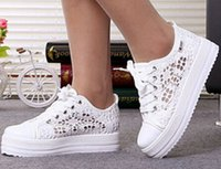 New Fashion cutouts lace white canvas shoes hollow floral pr...