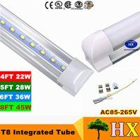 1피트 2피트 3피트 4피트 5피트 6피트 8피트 T8 주도 튜브 라이트 18W 22W 28W 36W 45W 통합 LED 형광 튜브 램프 AC 110-240V