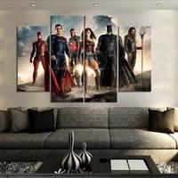 Gerechtigkeits-Liga-rahmenlose Gemälde 4pcs (kein Rahmen) Printd auf Leinwand Arts Modern Home