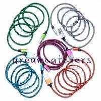 1M 2M 3M موجة مزين الألومنيوم مايكرو USB شاحن كابل النايلون مزامنة البيانات سبائك معادن حديد شاحن محول سلك لسامسونج HTC بلاك بيري LG