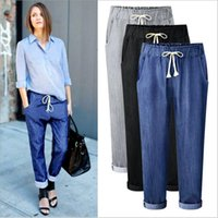 Haroun Pants Loose Plus Size Jeans Outono Fashion Harem Pants Casual Slim Capris Sandgy Cropped Trousers Lady Vintage OL Office Denim B3097