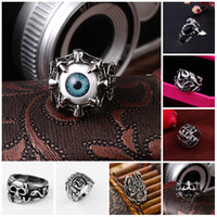 anelli in acciaio inossidabile grazioso Anello punk da uomo vintage in argento di marca Demon Eye Anello da uomo all'ingrosso Steampunk di gioielli in acciaio inossidabile in Cina
