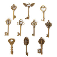 Free shipping New Free shipping 22pcs/lot 10 Style Key Charms Antique Bronze Plated Alloy Pendant Jewelry Findings jewelry making DIY