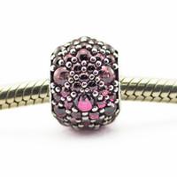 Adatto per pandora Collana con braccialetti con catena a serpente 100% argento 925 perline Caprifoglio rosa scintillante goccia fascino 2016 NUOVA estate