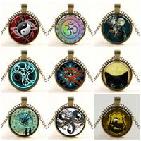 Подвески ожерелье для женщин Мужчины Уникальные ожерелья из стекла кабошон Серебро Бронза Tradition Black Cat Изображение Урожай Locket Цепные ожерелья