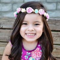 Детские аксессуары для детей розы розы цветок головы полосы младенца детские волосы ткань цветки повязки для девочек C26544