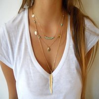 Boho Long Tassels Bead Necklace Multi - Layer Feather Pendant...