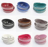 Pulseiras de tênis de moda de venda quente do punk mulheres 9 cores strass multicamadas de couro longo pulseiras atacado frete grátis br435