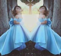 2018 robes de fille de fleur bleu ciel mignonne hors épaule Pageant robe robes de fille Bow pour les mariages robes de soirée d'anniversaire pour les adolescents BA7114