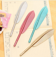 cute feather metal handle stationery personality neutral pen...