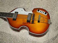 Yüksek kalite 4 Dizeleri Bas Gitar Sunburst Keman Tarzı Bas Elektrik Bas Ücretsiz Kargo
