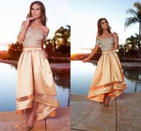 Sparkling off shoulder sequined top two pieces prom dresses ...