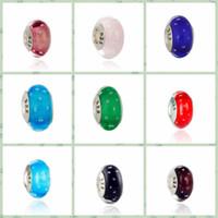 20pcs boutique placcato argento 925 boldface timbrato perle di vetro di murano accessori fai da te charms big hole bead adatto EUR bracciali A-018