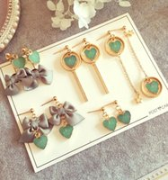 Korean style women cute dangle love heart chandelier earring...