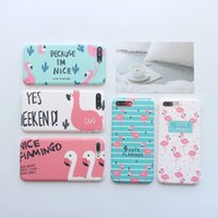 Cute Cartoon Flamingos Cactus Soft IMD phone cases For iPhon...