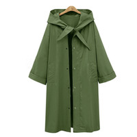 pure color hooded hooded trench coat 2018 autumn and winter ...