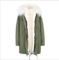 Moda Mongólia pele de ovelha guarnição Jazzevar marca branco cordeiro forro de pele exército verde lona casacos longos parka inverno neve com ykk zipper
