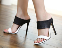 Black And White Pu Leather High Heel Sandals Fashion Slipper...