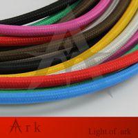 Partihandel-2 * 0,75 10m / Lot Edison Textil Kabel Tyg Trä Ljuskrona Hängsmycke Lampa Tråd Flätad Tyg Elektrisk Kabel Vintaglampa