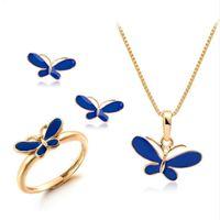 Симпатичные синий масло падение бабочка ожерелья подвески серьги кольцо небольшие ювелирные наборы для детей Дети девушки золотой цвет ювелирные изделия