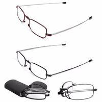 MINI Diseño Gafas de Lectura Hombres Mujeres Plegables Gafas Pequeñas Gafas de Metal Negro Con Caja Original