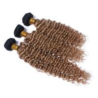 Neue Ankunft Honig Blonde # 1B 27 Menschenhaar Bundles Malaysian Ombre Farbe Tiefe Welle Welliges Haar Spinnt Schuss Tiefe Lockige Haarverlängerungen