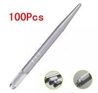 100 Piecs الفضة المهنية ماكياج دائم القلم 3D ماكياج التطريز اليدوي القلم وشم الحاجب microblade الشحن المجاني