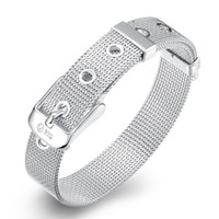 أنيقة الفضة مطلي مزين حزام الأساور أساور 10 ملليمتر x 20 سنتيمتر الويب ووتش حزام الأزياء والمجوهرات للجنسين نساء فتاة الرجال الهدايا