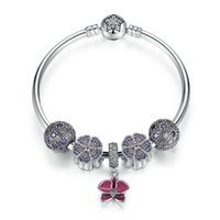 Genuino 925 Sterling Silver Beaded Bangle Charm Bracelets con Fancy Purple Charms floral Cosmic Stars Clip Red Primrose Dangle BL224