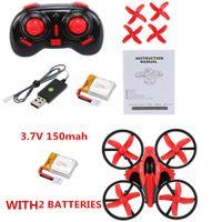 Mini drone RC avec 2pcs Piles 2.4g 4CH 4CH 6-Axe GYRO RC Quadcoptère RTF UFO Mini Dron drone avec mode 3D-Flip / sans tête avec batteries supplémentaires