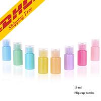 DHL ÜCRETSIZ 10 ml Macarons Renk Seyahat Şeffaf Plastik Pompa Şişe Küçük Mini Boş Pompa Doldurulabilir Şişe cilt bakım ürünleri için