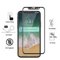 Pour IPhone X 8 8plus 3D 4D Full Cover Couleur Protecteur d'écran en verre trempé Soft Edge pour IPhone8 7 Plus avec le paquet de boîte