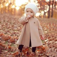 Розничная 2016 Новая осень зима Девушки Шерстяной Outwear Дети Мода двубортный плащи хлопка малышей Теплая куртка с задней Bowknot