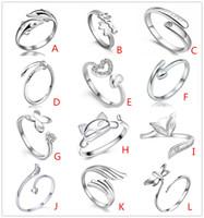 925 посеребренные ювелирные кольца сердце дельфины Стрекоза Крылья Ангела любовь Лиса бабочка Открытие регулируемое кольцо для женщин