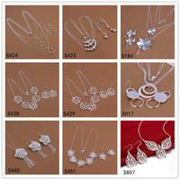 Brand New 6 define estilo diferente e cor esterlinas de prata de prata DFMS33, moda barata 925 prata brinco colar de jóias conjunto