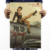 Nuovo PIN UP Girl World War 2 Vintage Kraft Paper Poster Pub Bar immagine della parete della stanza