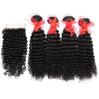 5ピースロットブラジルの変態巻き毛の毛髪巻き閉鎖7A未処理の深い巻き毛の髪の毛織り4束とトップレースの閉鎖サイズ4 * 4