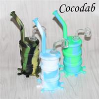 Coloré Hookahs Bongs en Silicone avec verre downstem silicone tuyau d'eau dab rig 14 mm tous les clous Clear 4mm épaisseur 14mm ongles de quartz mâles