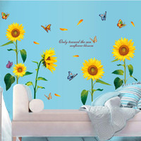 Large Size Sunflower wall stickers bedroom living room backg...