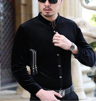 Mens Silk Shirts Formal Stand Collar Black Velvet Shirts Men...