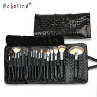 Rosalind Moda 18 Pcs Pincéis de Maquiagem Set Kit + Padrão de Diamante Preto Saco De Couro De Patente Frete Grátis Beleza