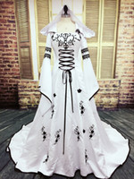Real Picture Gothic Wedding Dress Black and White Muslim Dre...