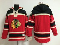 أعلى جودة ! شيكاغو blackhawks الوقت القديم الهوكي جيرسي فارغة لا اسم رقم أحمر هوديي البلوز بلوزات الشتاء سترة